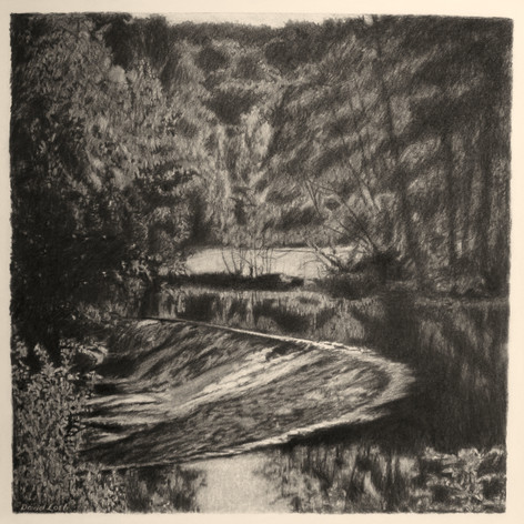 BARRAGE DE CUSSEY 2017, charcoal 24×24 in / 60×60 cm