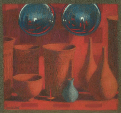 POTTERY AND SPHERES 2011, pastel 7×8 in / 19×20 cm