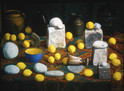 TABLE WITH LEMONS 1999, oil on canvas 28×39 in / 71×99 cm