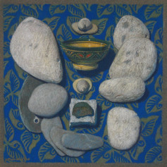 STONES AND SHELLS 2011, pastel 8×8 in / 20×20 cm