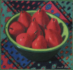 BOWL OF RED PEARS 2006, pastel 7×8 in / 19×20 cm