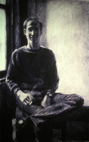 ROB EDER 1983, charcoal 40×26 in / 102×66cm