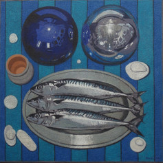 MACKEREL AND GLOBES 2014, oil on canvas 20×20 in / 50×50 cm