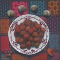 PLATE OF LYCHEES 2011, pastel 8×8 in / 20×20 cm
