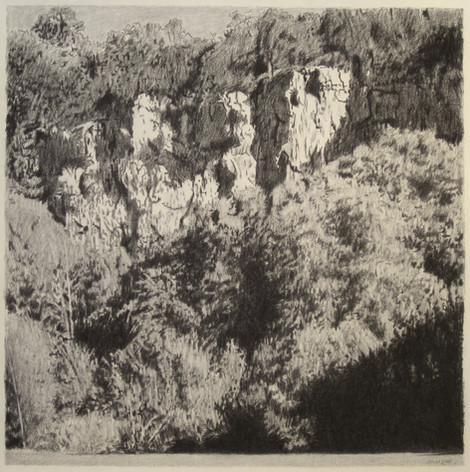 JURA CLIFFS 2017, charcoal 24×24 in / 60×60 cm