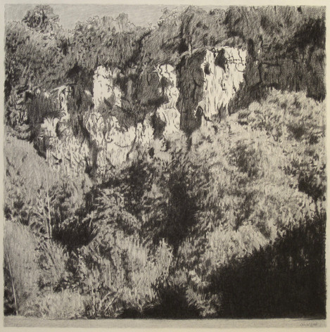 JURA CLIFFS 2017, charcoal 24×24 in / 60×60 cm