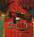 RED STILL LIFE 2002, oil on canvas 48×45 in / 122×114 cm