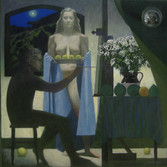 BLUE MOON MUSE 2010, oil on canvas 48×48 in / 122×122 cm