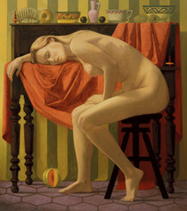 NUDE WITH MELON 1997, oil on canvas 50×44 in / 127×112 cm