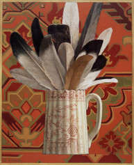 FEATHERS AND PITCHER 1998, oil on canvas 17×14 in / 43×36 cm