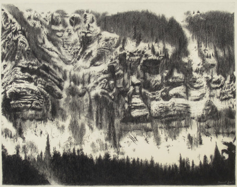 MONT D'OR 2017, charcoal 24×30 in / 60×75 cm