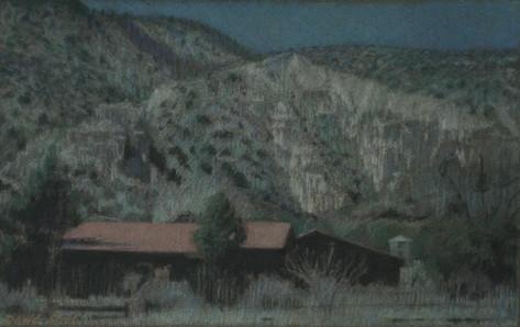 EMBUDO STATION 2007, pastel 6×10½in / 15×27cm