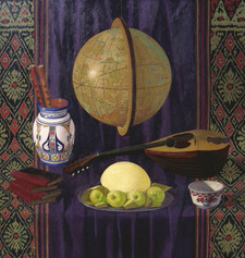 STILL LIFE WITH GLOBE 2004, oil on canvas 46×44 in / 117×112 cm