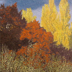 GOLDEN POPLARS 2018, oil on canvas 45×45 in / 114×114 cm