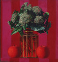 VIBURNUM AND APPLES 2004, oil on canvas 13×12 in / 33×30 cm