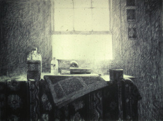 PINE HALL STUDIO TABLE 1981, charcoal 18×24 in / 46×61 cm