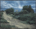 AUJARGUES ROAD 2015, oil on canvas 13×16 in / 33×41 cm