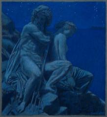 POSEIDON AND AMPHITRITE 2013, pastel 9×8 in / 23×21 cm