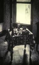BROOKLYN STUDIO 1984, charcoal 40×25 in / 102×63 cm