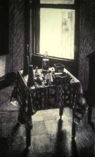 BROOKLYN STUDIO 1984, charcoal 40×25 in / 102×63 cm