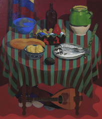 TABLE WITH FISH 2005, oil on canvas 51×45 in / 130×114 cm