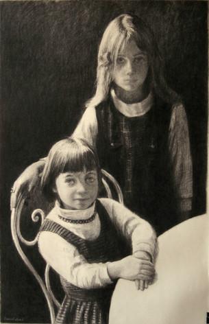 ISABELLE & JULIETTE LOEB 1998, charcoal 40×25 in / 102×63 cm