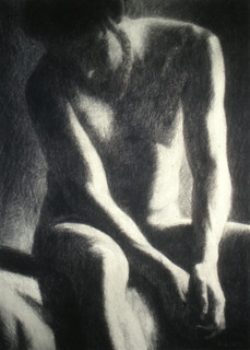 SUBMISSION 1997, charcoal 36×26 in / 91×66 cm
