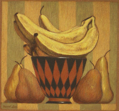 BANANAS AND PEARS 2011, pastel 7×8 in / 19×20 cm