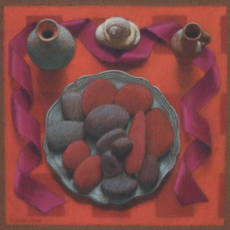 PLATE OF ROCKS 2011, pastel 8×8 in / 20×20 cm