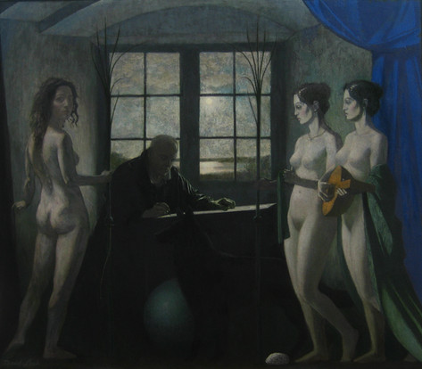ARTIST AND MUSES 2010, oil on canvas 56×64 in / 142×162 cm