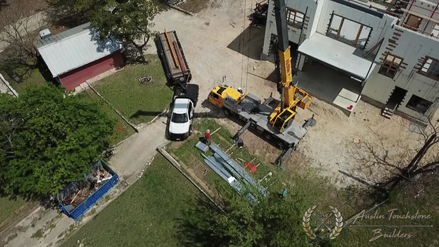 Austin Touchstone Builders - Net Zero Model Home - Steel Day 2 Lifting Cold Steel