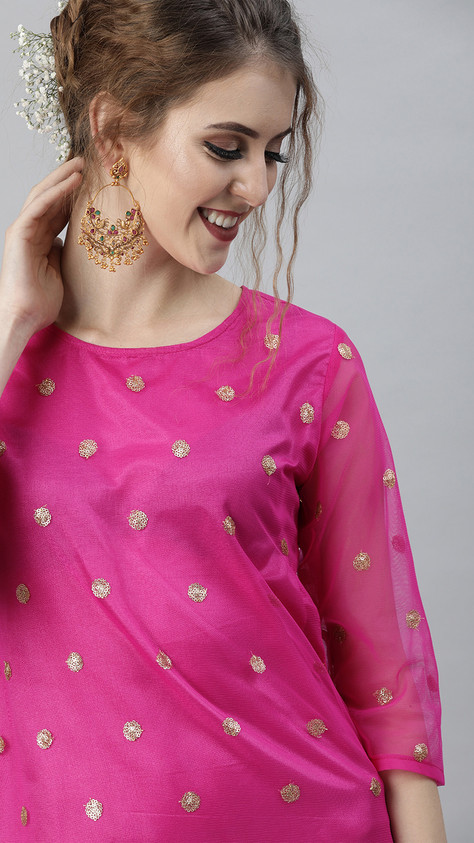 Shakumbhari Women Pink & Golden Embellished Straight Kurta