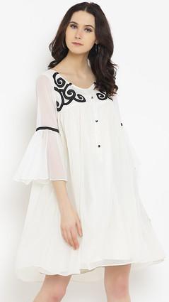 Shakumbhari Women Cream-Coloured Printed A-Line Dress