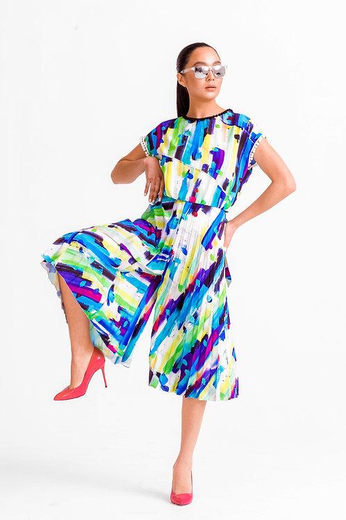 Плиссированное платье-комбинезон