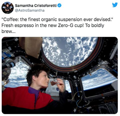 Samantha Cristoforetti drinking coffee espresso in space with Zero-G Cup