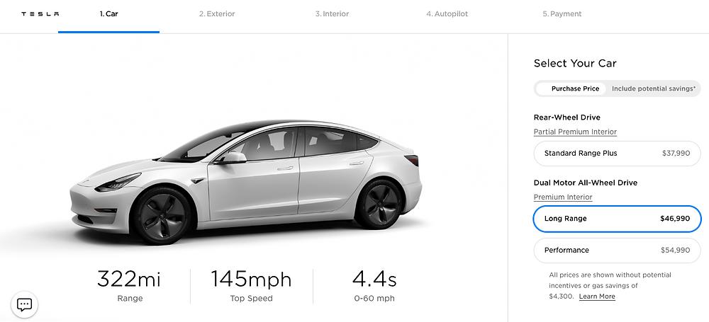 Design your Tesla Model 3
