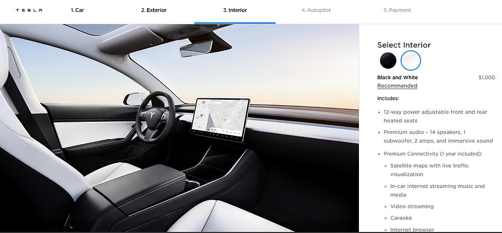 interior of Tesla Model 3