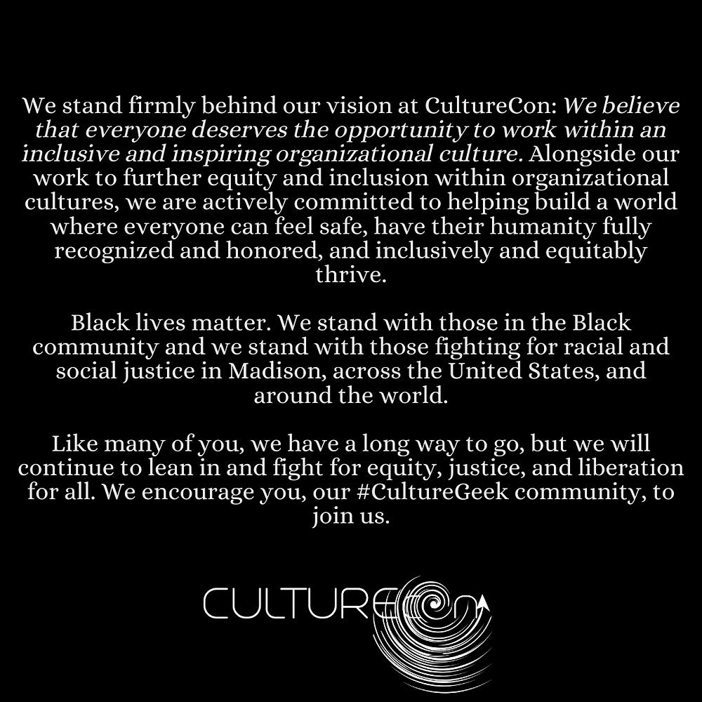 Black Lives Matter CultureCon Statement
