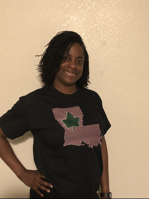 Pink State and Green Ivy-Black Tee