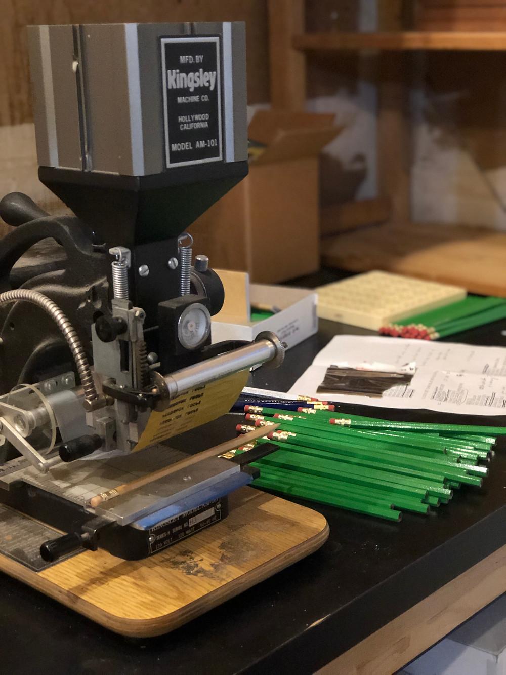 Kingsley pencil stamping machine