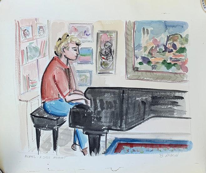 Michael at Piano, Cincinnati 1995, watercolor 16x20