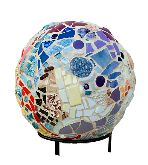 """Small World 1"" Mosaic Sculpture 11"" diameter on stand"