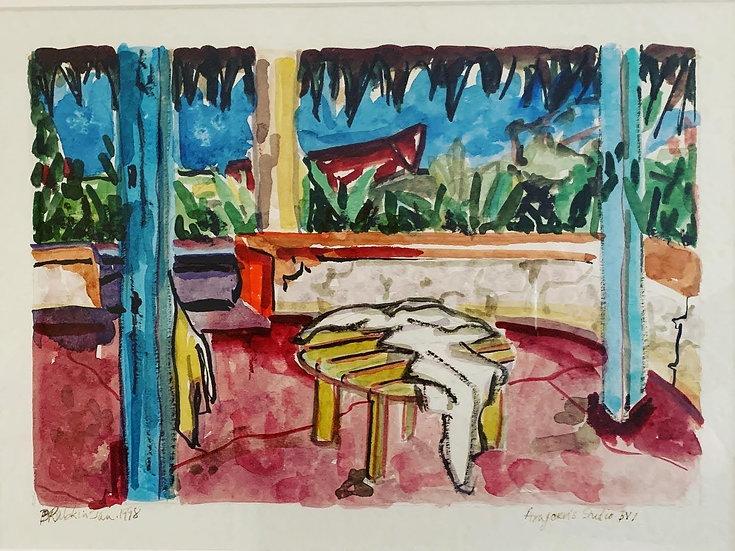 """Aragon'sStudio, British Virgin Islands"" 1998, watercolor 21 1/4"" x 17 1/2"" fra"