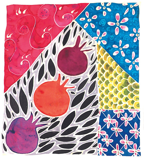 """Pomegranate Society"" 2001, silk8x10"""