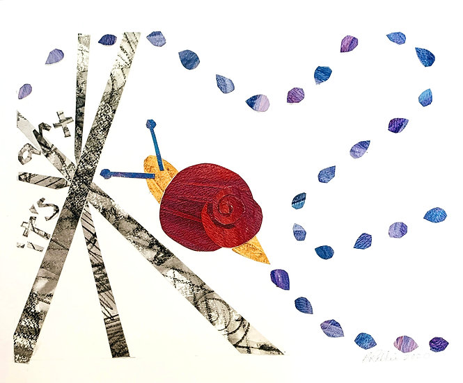 """It's Art"" snail collage 11x13"