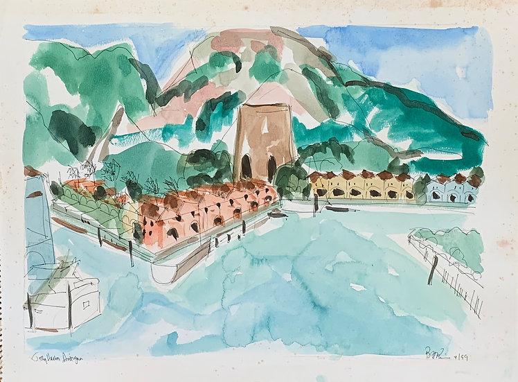 "Antigua Harbor, 1998 watercolor 16x20"""