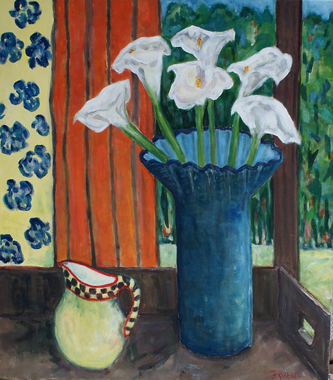 """""""Lilies in Blue Vase"""" acrylic on canvas  29x33"""""""