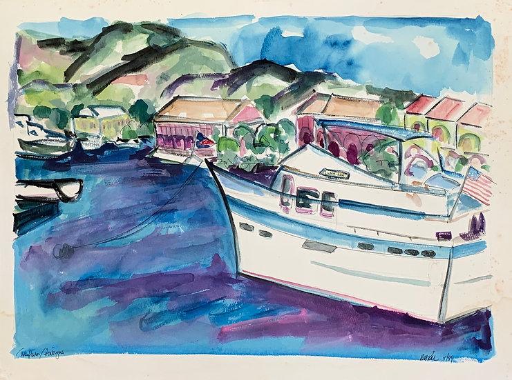 """Jolly Harbor, Antigua"" 1998 , watercolor 18"" x 24"""