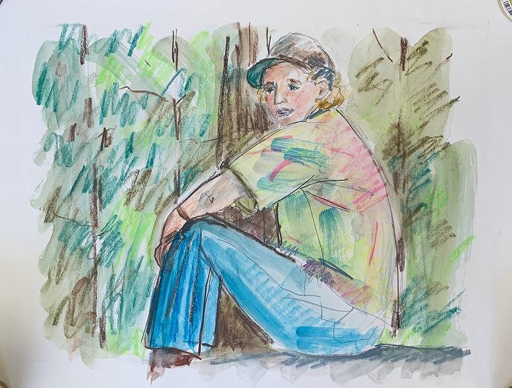 """Daniel in the Rockies, 1995, watercolor 16x20"""""""