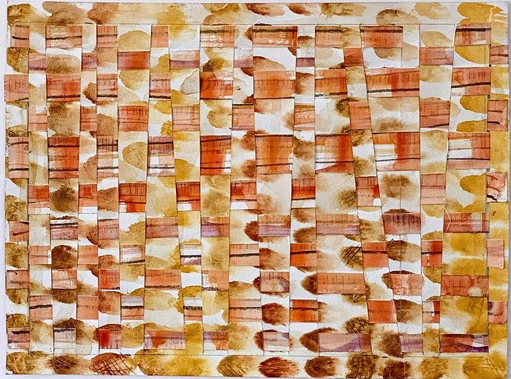 """Paper Weaving (sienna)""  watercolor, 12' x 14"""